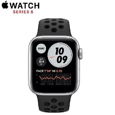 Apple Watch Nike+ Series 6 GPS 版 40mm 銀色鋁金屬錶殼配黑色 Nike 運動錶帶 (M00T3TA/A)