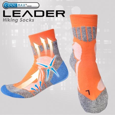 【LEADER】COOLMAX 排汗高筒/戶外健行/機能運動襪 (橘色)