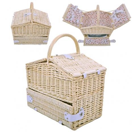 【波帝莊園】籐編小屋 掀蓋保溫手提雙層野餐籃