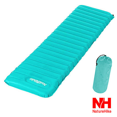 Naturehike 超輕折疊式收納單人充氣睡墊 地墊 防潮墊 (藍綠色)