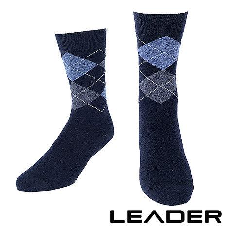 【LEADER】除臭去味 紳士菱格中筒襪 (藍底藍格)