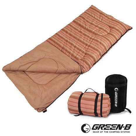 GREEN-B戶外野營棉質條紋可拼接式信封睡袋(咖啡條紋)