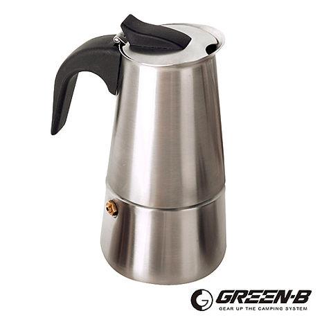 GREEN-B 戶外便攜 不鏽鋼摩卡咖啡壺 (200ml/約4杯量) (特殺)-戶外.婦幼.食品保健-myfone購物