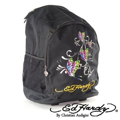 【ED Hardy】印刷蝴蝶三層拉桿旅行背包