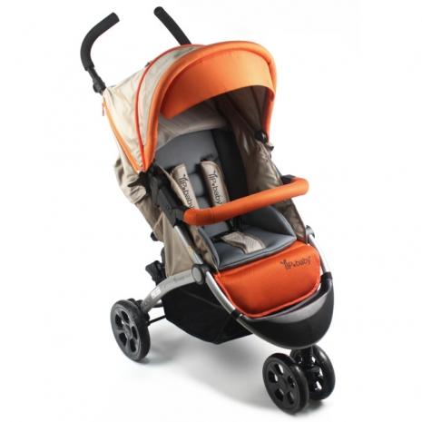 YIP Baby 歐式經典豪華三輪推車(附防風保暖腳套)-橘