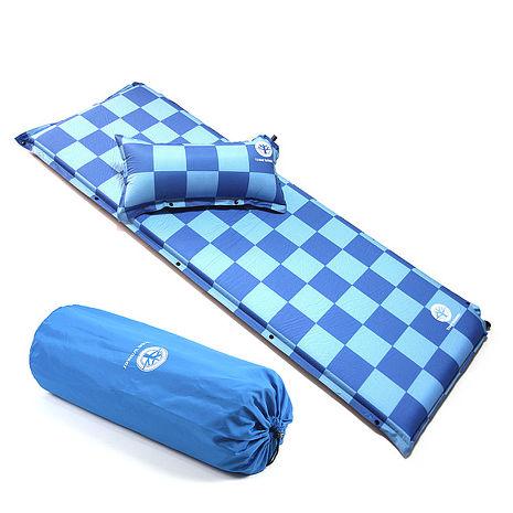 TreeWalker 加大加厚6cm可拆枕自動充氣睡墊-藍色方格