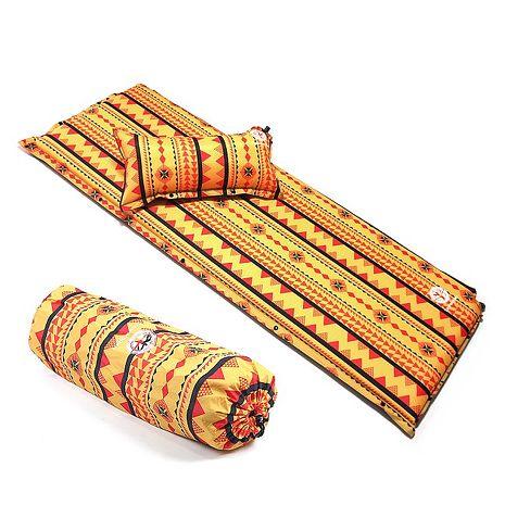 TreeWalker 加大加厚6cm可拆枕自動充氣睡墊-黃色圖騰