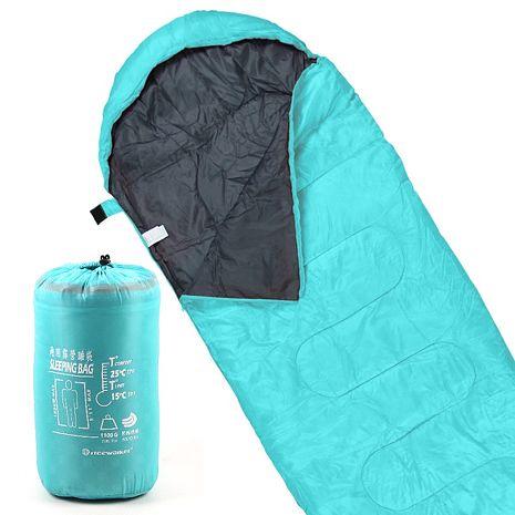 TreeWalker 通用露營睡袋-湖水綠