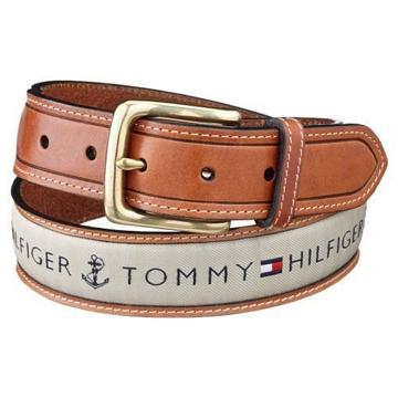 Tommy Hilfiger 2012男時尚織帶鑲嵌棕色皮帶★預購40