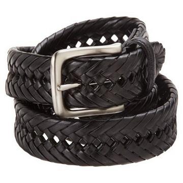 Tommy Hilfiger 2012男時尚編織黑色皮帶★預購36