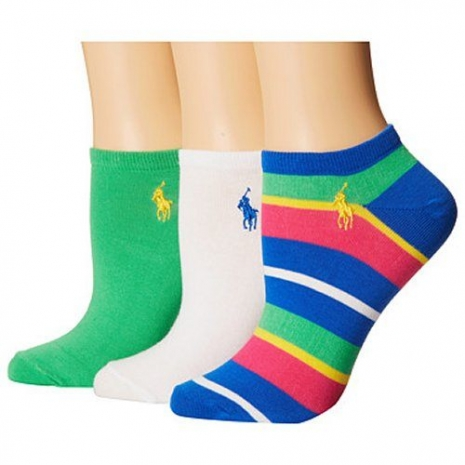 Ralph Lauren 2015女馬球腳踝綠藍遊艇條紋短襪混搭3入組(預購)