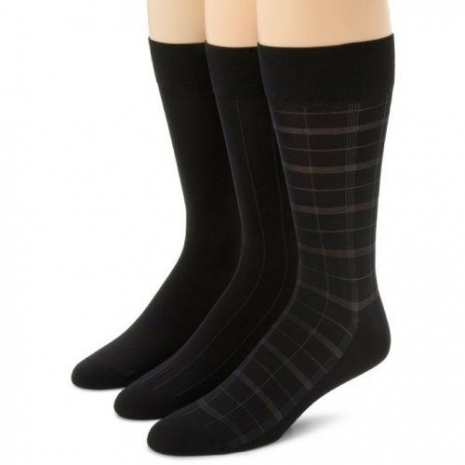 Calvin Klein 2014男時尚黑色細纖維窗格中統襪3入組(預購)