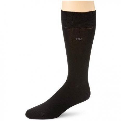 Calvin Klein 2014男時尚黑色精梳平針織中統襪3入組(預購)