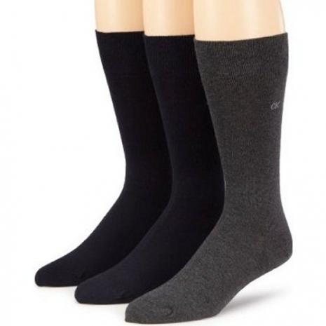 Calvin Klein 2014男時尚石墨深藍精梳平針織中統襪混搭3入組(預購)