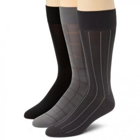 Calvin Klein 2015男時尚細纖維窗格灰黑中統襪混搭3入組(預購)