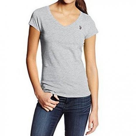 US Polo 2015女典雅小馬V型領灰色短袖T恤★預購S