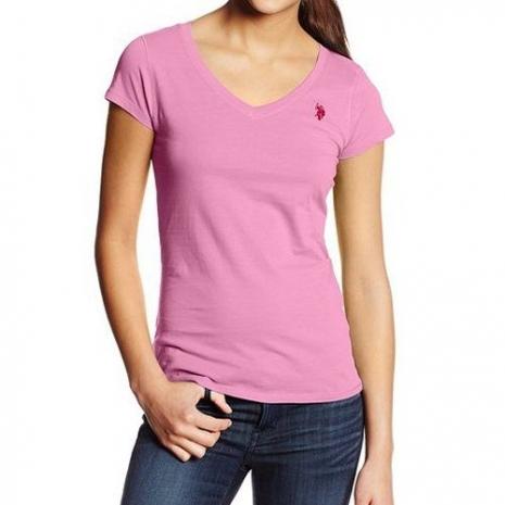 US Polo 2015女典雅小馬V型領粉紅鋅色短袖T恤★預購M