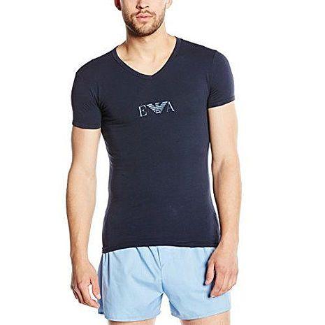 【EMPORIO ARMANI】2015時尚鷹標彈力棉V領深寶藍短袖ㄒ恤(預購)
