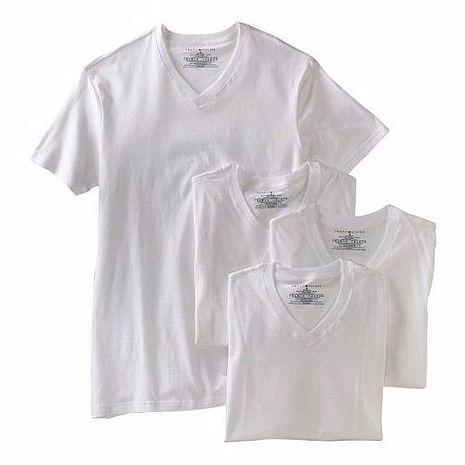 【Tommy Hilfiger】2014男時尚品味V領白色內衣4件組★預購