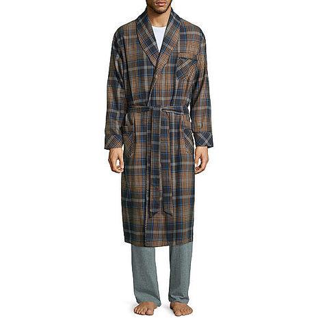 Stafford 2016男時尚灰白蘭地色格紋和服款絨布睡袍★預購