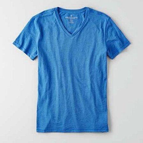 American Eagle 2016男時尚老鷹汐藍色V領短袖ㄒ恤預購