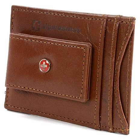 【Alpine Swiss】2016時尚瑞士十字標記磁鐵夾棕色皮夾★預購
