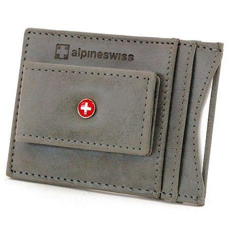 【Alpine Swiss】2016時尚瑞士十字標記磁鐵夾灰色皮夾★預購