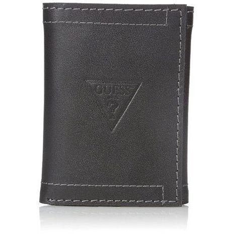 【Guess 】2016男時尚Prescott三角logo三折黑色皮夾★預購