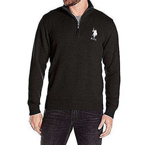 US Polo 2016男馬球黑色四分之一拉鍊立領寬鬆長袖毛衣★預購XL(為亞洲尺寸XXL/XXX