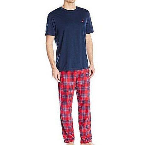 NAUTICA  2017男時尚ㄒ恤睡褲深藍紅格紋套裝組【預購】