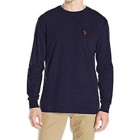 US Polo 2017男時尚小馬球深藍色寬鬆款長袖圓領ㄒ恤★預購XL(亞洲XXL/XXXL)
