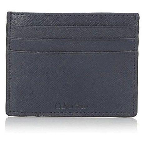 【Calvin Klein】2018男時尚超薄信用卡深藍色皮夾★預購