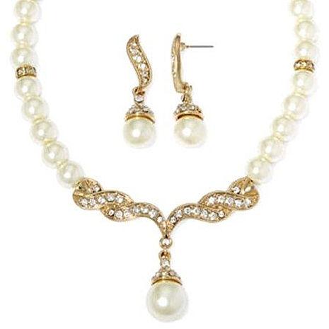 【Love 21】Monet2018優雅珍珠水晶花辦耳環項鍊套組★預購