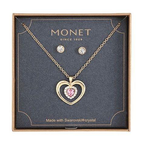 【Love 21】Monet2018媚力香檳色耳環心形粉晶項鍊套組★預購