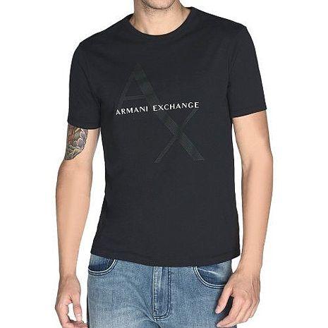 【A/X】2018男阿瑪尼時尚標誌黑色圓領短袖ㄒ恤 ★預購