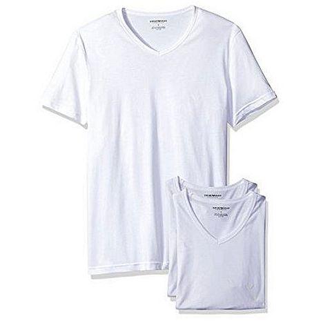 【EMPORIO ARMANI】2018時尚舒適白色V領內衣3件組(預購)