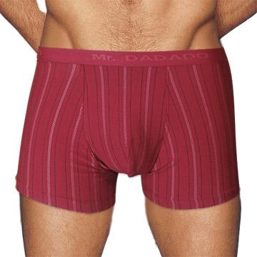 【Mr. DADADO】休閒系列素面條紋平口四角褲 兩件組(M-LL號/純熱紅)M