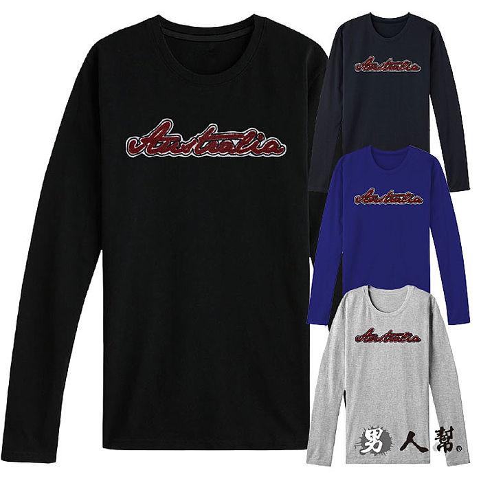 【男人幫】簡約有型Australia字母拼接長袖T恤(T5558)
