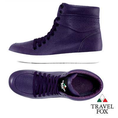 Travel Fox(女)☆BOXER LOVE全彩軟底高筒運動鞋情侶款-迷戀紫