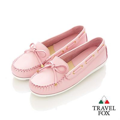 Travel Fox(女)★我的金扣子 淺口豆豆帆船鞋 - 青春粉