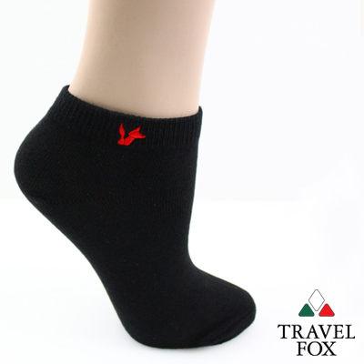 【Travel Fox】(女) 粉彩小狐狸休閒裸短襪 - 基本黑
