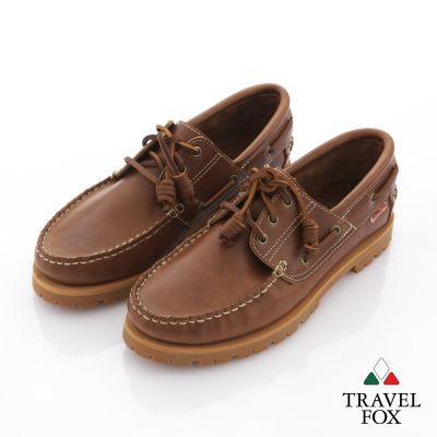 Travel Fox(男) 旅狐雷跟鞋 高底銅扣雷根款帆船鞋 - 駱駝棕