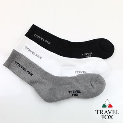 【Travel Fox】(男) 基本款II 直繡字厚毛巾底休閒中長襪 - 1組3雙入