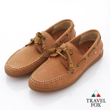 Travel Fox(男) 旅狐帆船鞋 編織壓紋牛皮帆船鞋 - 金棕