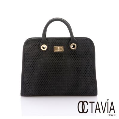 OCTAVIA 8 - 雅美姬 菱格洞洞鍊條肩背包 - 絕色黑