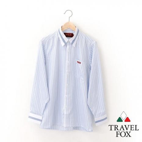 【Travel Fox 男裝】旅狐衣 微漾 羅紋袖口長袖襯衫 - 淺藍條