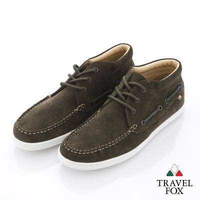 Travel Fox(男) 書生男人味 簡約反毛中筒旅狐休閒鞋 - 橄綠-服飾‧鞋包‧內著‧手錶-myfone購物
