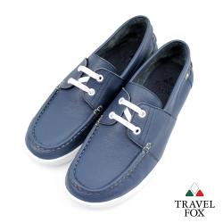 Travel Fox(男)-軟皮四孔帆船鞋-藍
