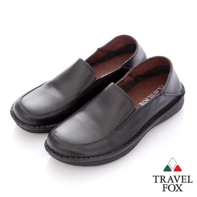 Travel Fox(男) 閒瑕人生 後踩鞋跟二用牛皮休閒鞋 - 悠活黑