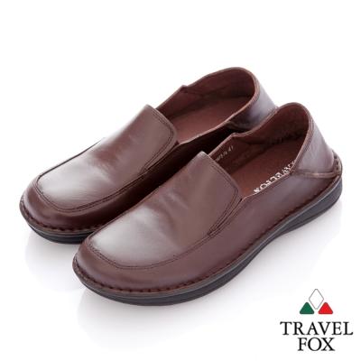 Travel Fox(男) 閒瑕人生 後踩鞋跟二用牛皮休閒鞋 - 自在咖